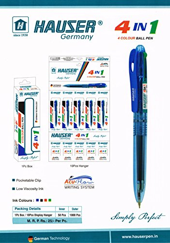 Hauser 4 IN 1 (4 Colour) Ball Pen Pack of - 5