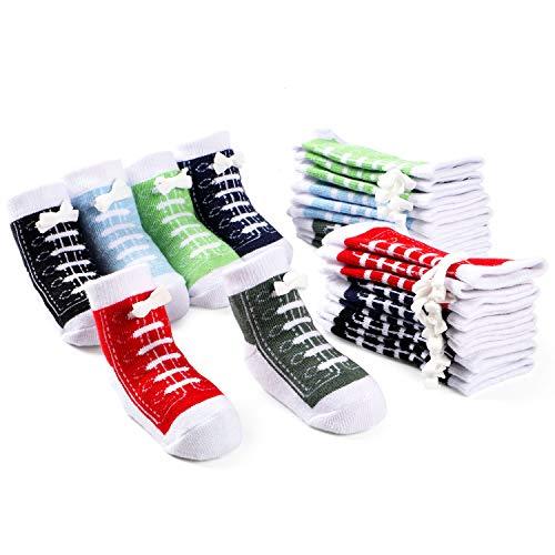 vamei 12 Paar Baby Socke Jungen Baumwolle Babysocken Antirutsch Socken Kleinkind Neugeborenes Geschenk Weiche Rutscfeste Babysocken die wie Schuhe aussehen (12 Paar-0-12 Monate) -