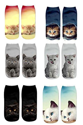 Calcetines de las mujeres de las muchachas lindas del calcetín del gato 6PC Calcetines de las medias del deporte calcetines del tobillo