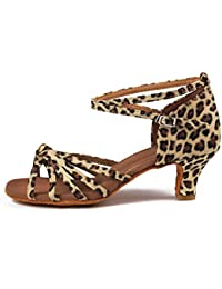YFF Frau Latin Dance Schuhe Satin Sandalen Damen sozialen Partei, Leopard, 5.