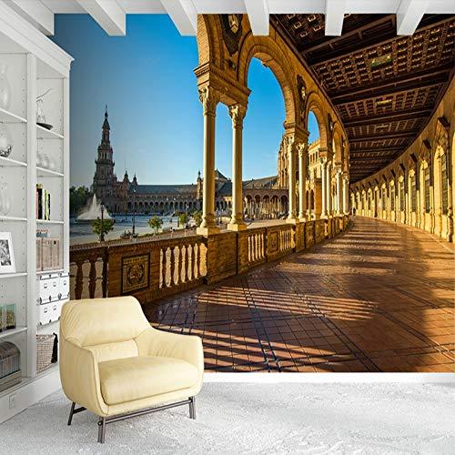 MuralXW Fototapete Vliestapete Europäischen Stil 3D Stereoscopic Space Spanische Landschaft Fototapete Wohnzimmer Studie-450x300cm (Stil Spanischen Platten)