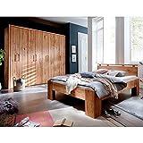 Pharao24 Schlafzimmer Kombination aus Wildeiche Massivholz geölt Liegefläche 200x200