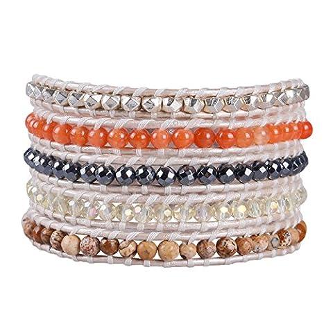 KELITCH Picture-jasper, Orange Aventurine Pierre Mélanger Cristal Métal Pépite Perles Blanc Cuir Bracelet