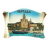 Torre del Oro Sevilla España resina 3d fuerte imán para nevera recuerdo turista regalo chino imán hecho a mano creativo hogar y cocina decoración magnética