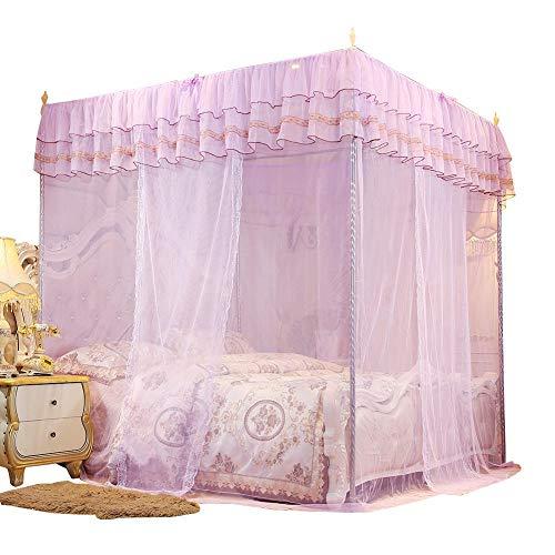Duokon Bettwäsche Moskitonetz Betthimmel Spitze Luxus 4 Ecke Luxus Prinzessin Post Bett Vorhang Baldachin Netting(L) (Bettwäsche Bett Baldachin Voll)