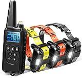 Collar adiestramiento perros con Control a Distancia 800 Metros 3 collares Recargable e Impermeable electrónico Perro Entrenador Collar collares antiladridos para perros con Tono/vibración /Light