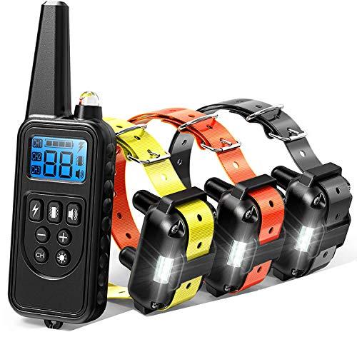 Collar adiestramiento perros con Control a Distancia 800 Metros 3 collares Recargable e Impermeable...