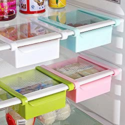 Bluelover Cucina in plastica Frigorifero Fridge rack di stoccaggio congelatore mensola della cucina del supporto Organizzazione Bianco