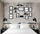 #10: PPD Love Birds Set of 9 Wall Photo Frame for Wedding/Couples Including MDF Plaque (2 Birds, Mr & Mrs) by Paper Plane Design