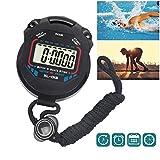 Prom-near Cronometro digitale, ideale per sport e allenamenti, con timer ad alta precisione in 1/100 di secondi, di colore nero (versione in lingua inglese)