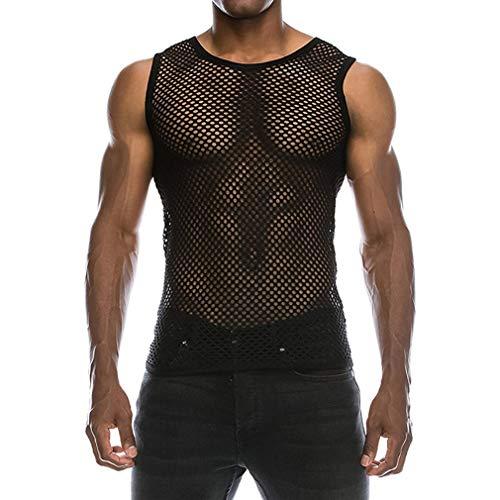 BURFLY Männer Netz Hemd Shirt, Herren Sommer Casual Muscle Pullover mit kurzen Ärmeln Mesh fit Underwear Shirt Top Bluse