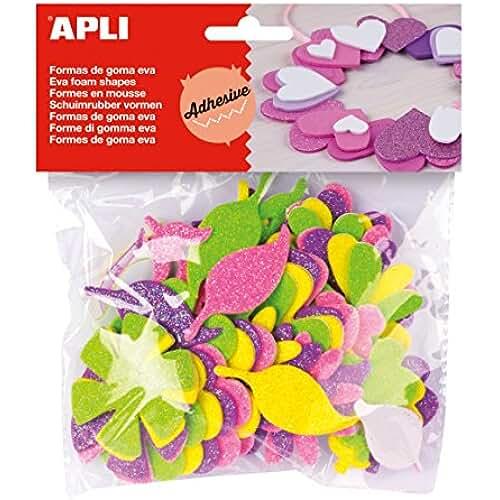 goma eva kawaii APLI - Bolsa formas EVA adhesiva purpurina formas flor, 48 uds
