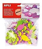 Formas de goma eva adhesiva con purpurinaForma : 12 formas de FloresAcabado : PurpurinaCantidad : 48 u/bolsaColor : rosa, lila, vede y naranjaGrosor: 2mm. Altura: 5 cm.