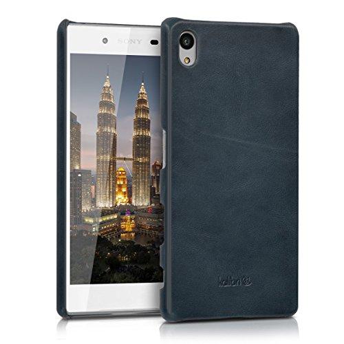 kalibri-Echtleder-Backcover-Hlle-fr-Sony-Xperia-Z5-Leder-Case-Cover-Schutzhlle-in-Dunkelblau