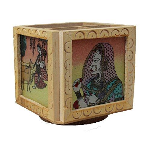 Wooden Gem Stone Pen Pencil or Card Holder Stand Handmade Handicraft For Home Decor Gift Item
