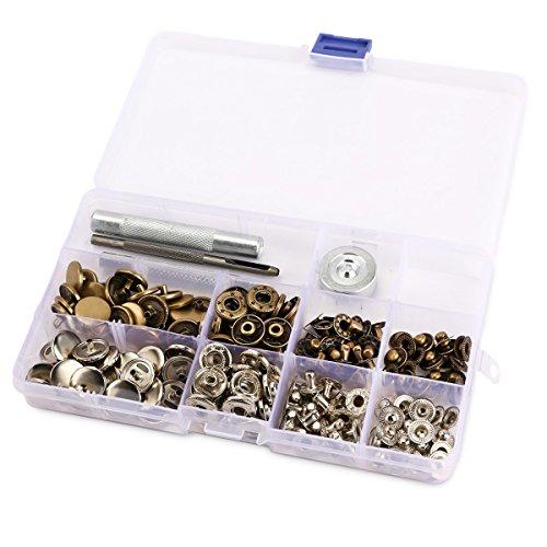 50 Set 15mm Metall Druckknöpfe Silber Altgold & 4tlg Werkzeug Locheisen Handschlageisen nähfrei Leder Kunstleder mit Aufbewahrungsbox