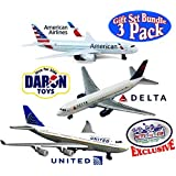 """Daron American Airlines, Delta & United Airlines B747 Die-cast Planes """"Matty's Toy Stop"""" Exclusive Gift Set Bundle - 3 Pack"""