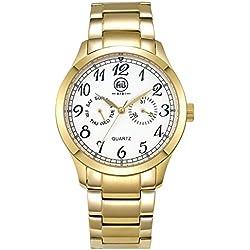AIBI Herren-Armbanduhr XL Men's 44MM Dress Chronograph Analog Quarz Weiß/Gold AB50701-3