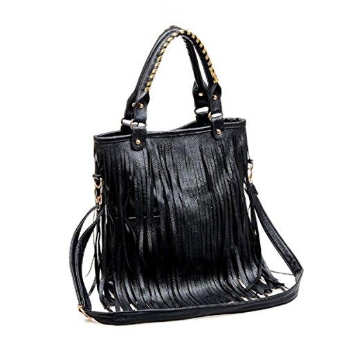 Damenhandtasche Schultertasche Lässig Quaste Big Bag Black