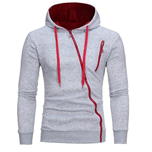 MRULIC Herren Mens 'Long Sleeve Hoodie mit Kapuze Sweatshirt Tops Jacke Mantel Outwear(Grau,EU-54/CN-XL)