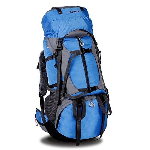 Preisvergleich Produktbild Camping Rucksack,  ARCHEER Wasserdicht Trekkingrucksack Wanderrucksack 55L+10L wandernde Leichte Wasserdicht Tasche mit Regen-Abdeckung für Camping Bergsteigen Klettern und Reisen (Blau)