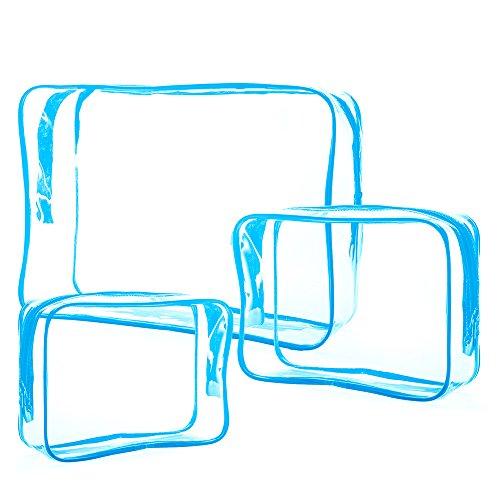 Vococal® 3 Pcs Hommes Femmes Pvc Zipper Voyage Multifonctionnel Portable Sac à Main Stockage Sac Voyage Cosmétiques Maquillage Cas Lavage Sac Toilette Sac Bleu