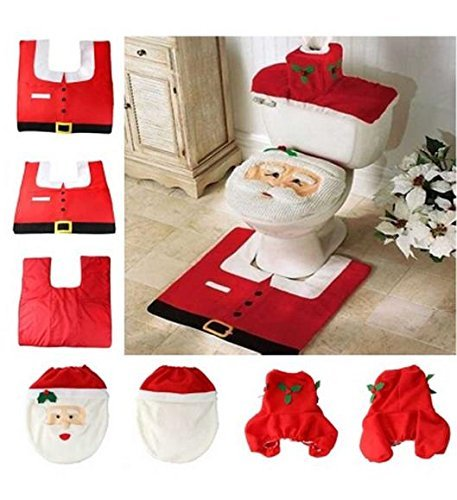 Megadream 3pcs Natale Babbo Natale festival decorazione coprisedile WC, tessuto + serbatoio dell' acqua copertura e tappeto bagno Decor set Home Decoration set regalo., Santa Claus Toilet Set, Confezione da 3