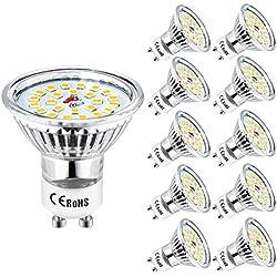 GU10 Blanc Froid Wowatt Ampoule GU10 6000K LED 6W Équivaut à 50W 40W 35W Lampe Halogène 230V Spot GU10 LED 600Lumens Lumineux 120° Larges Faisceaux 50 x 53mm Lampe GU 10 LED 24 x 2835 SMD Lot de 10