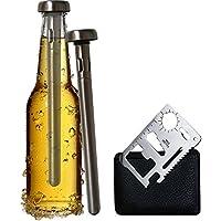 Original Regalo Set de Enfriador de Botellas de Cerveza y Abridor de Botellas de Bolsillo Multifunción - 2 Tubos Barras Enfriadoras de Acero Inoxidable ...