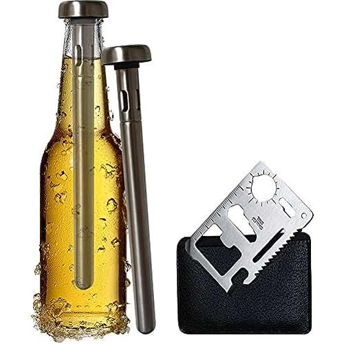 ofertas para el dia de la madre Original Regalo Set de Enfriador de Botellas de Cerveza y Abridor de Botellas de Bolsillo Multifunción - 2 Tubos Barras Enfriadoras de Acero Inoxidable - Accesorio Utensilio Cerveza Casera Artesanal - Para Mahou Estrella Galicia Skol Heineken Amstel Alhambra Cruzcampo - Mejor que Neopreno - Idea de Regalo del Día del Padre - Hombre Mujer Amigo Invisible Amigas Empresa - Divertido Frikis Especiales - Marca Yvento