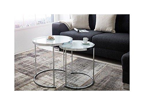 Lnxp Designer Couchtisch 2er Set Chrom Weiß Tisch Beistelltisch Zigon REPRO Rund für Praxis Wohnung Büro