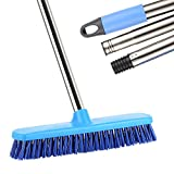 Long Handle Floor Scrubbing Brush, MEIBEI Sweeping Broom Brush with 120CM Removable Stainless Steel Handle and 30CM Bristle Brush Head for Clean Bathroom, Tub & Tile, Floor, Wall and Kitchen