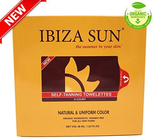 Ibiza Sun Toallitas Autobronceadoras Orgánicas y Naturales.Libres de Parabenos, apta para Veganos y sin perfume. Color de verano en solo 3 horas y por varios dias.Pack de 8 unidades