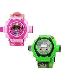 Vishwakarma Enterprises Barbie And Ben 10 Blue::Green Digital Watch - For Boys & Girls
