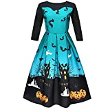 TEBAISE Halloween Retro 3/4 Ärmel mit Stoffdruck Vintage Rockabilly Swing Kleid/Cocktailkleid Herbstkleid(A-Blau,M)