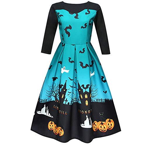 (TEBAISE Halloween Retro 3/4 Ärmel mit Stoffdruck Vintage Rockabilly Swing Kleid/Cocktailkleid Herbstkleid(A-Blau,2XL))