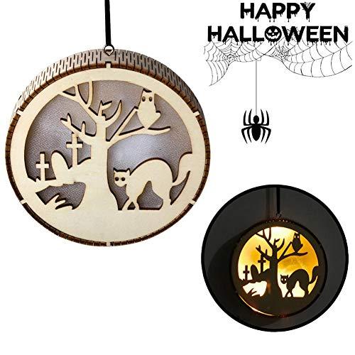 Sunronal Halloween Holz hohlen Anhänger, Hexe Fee Kürbis Mann Spukhaus Schwarze Katze Design kleine Ornamente