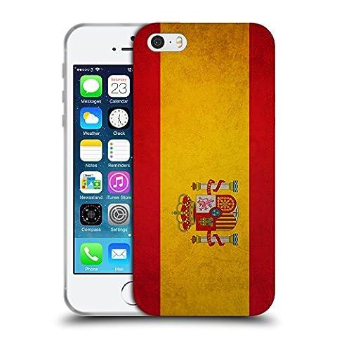 Head Case Designs Espagne Espagnol Drapeaux Vintage Étui Coque en Gel molle pour Apple iPhone 5 / 5s /