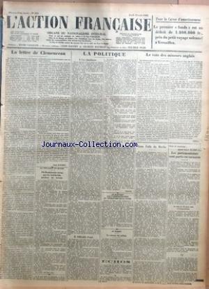 ACTION FRANCAISE (L') [No 224] du 12/08/1926 - POUR LA CAISSE D'AMORTISSEMENT - LA LETTRE DE CLEMENCEAU PAR LEON DAUDET - LA SITUATION EN RUSSIE - OU BOUKHARINE AVOUE QUE LES BOLCHEVIKS PERDENT DU TERRAIN - LA POLITIQUE - I - LES SIMULACRES - II - DIFFICULTES D'AGIR - LE RAPPORT SUR L'ADMINISTRATION DU TERRITOIRE DE LA SARRE - AU MAROC - LE RETOUR DU SULTAN - ECHOS - LE VOTRE DES MINEURS ANGLAIS PAR TESTIS - SOUS L'AILE DU BOCHE - GAINS ET CONTENTS - AYANTS LEURS 45.000 FR LES PARLEMENTAIRES SO par Collectif