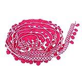 Homyl 3 Yards 32mm Trimm Ball Perlen Fransen Quasten Braid Ribbon Trim Zierborrte Bommelborte Bommelband - Rose Rot, 3 Yards