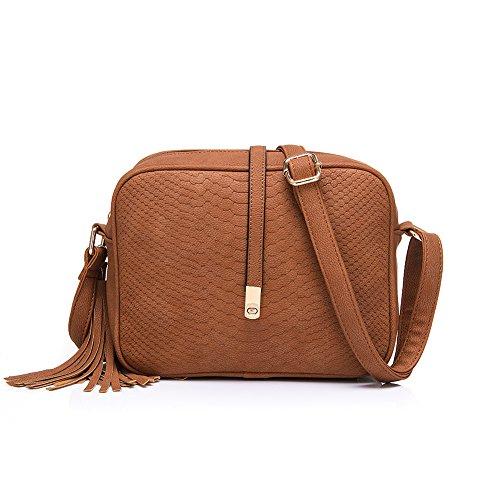 Realer Piccola pelletteria Borse Crossbody e borse con tracolla per le donne grigio marrone