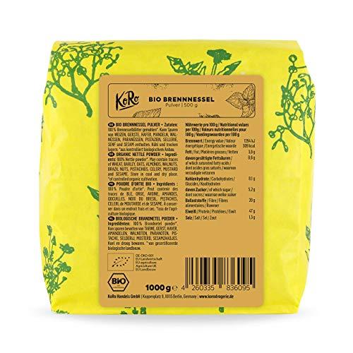 KoRo - Bio Brennnessel Pulver 500 g - Superfood aus zertifiziert biologischem Anbau, ohne Zusätze - Protein Booster Eye
