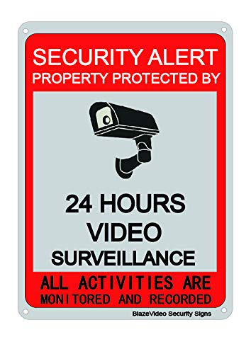 "BlazeVideo Surveillance Warning Sign Aluminum Metal Signage CCTV Sign Private Property Surveillance Hanging Signage 7 X 10"", No Trespassing Security Sign-24 Hours Video Surveillance"