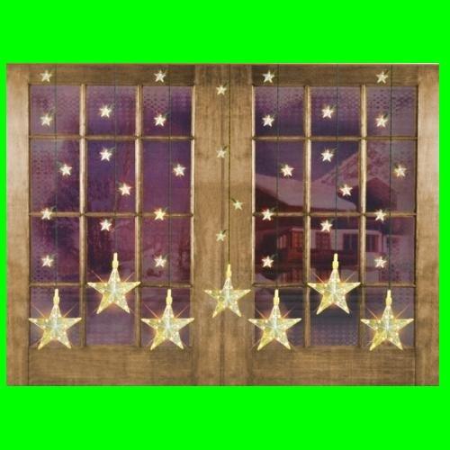 Preisvergleich Produktbild LED Weihnachtsbeleuchtung Lichterkette 7 grosse 32 kleine Sterne Lichtervorhang Sternenvorhang Fensterdeko Sternenkette