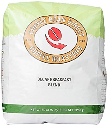 Coffee Bean Direct Decaf Breakfast Blend, Whole Bean Coffee, 5-Pound Bag by Coffee Bean Direct