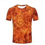 qianyishop Mens 3D Printed Fire Flames Graphic Couple T-Shirts