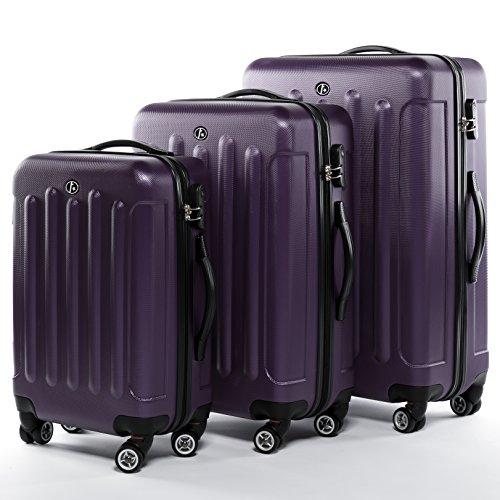 FERGÉ® Set di 3 valigie viaggio LYON - leggero bagaglio rigido dure da 3 ABS duro tre pz. valigie con 4 ruote (multidirezionali 360°) viola