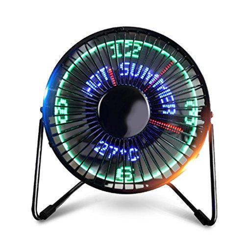 YMXLJF USB-Mini-Lüfter, Uhr Kleiner Ventilator, Kreative Lichtventilator. - Energiesparender Ventilator (Farbe : Clock+Temperature+English)