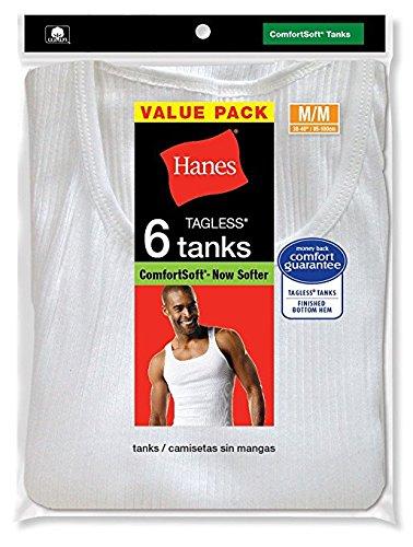Hanes Mens 6Pack White A-Shirts Tagless Undershirts Tanks Tank Tops White A-shirts (6-pack)
