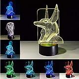 Fushoulu Flachbildschirm 3D Ägyptische Sphinx Pharao Gott Led Lampe Usb Nachtlicht Touch Schalter 7 Farben Umkleideraum Büro Dekor Geschenke A